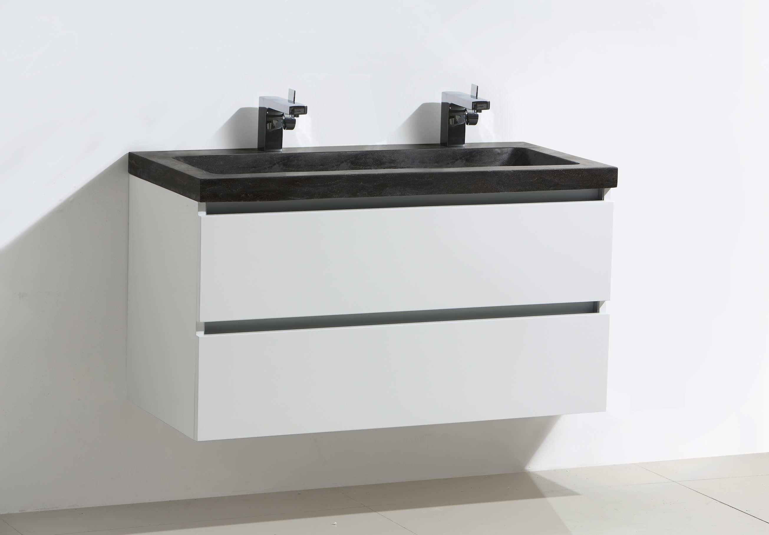 Lambini Designs Trend Stone badkamermeubel hoogglans wit 100cm, 2 kraangaten