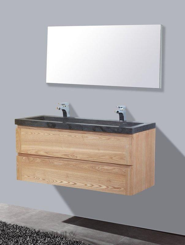Lambini Designs Wood Stone badkamermeubel eiken 120cm, 2 kraangaten
