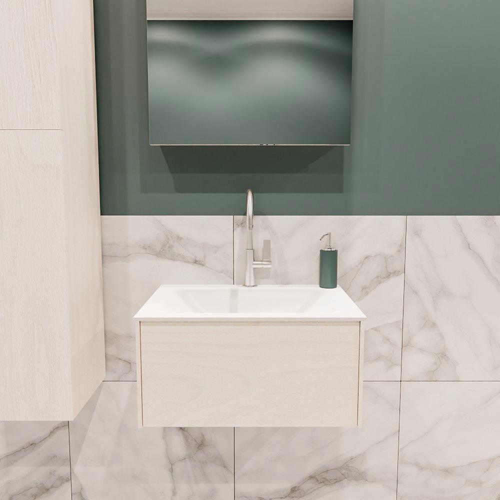 Lush onderkast 60cm in kleur UNDERLAYMENT met 1 lade Push tot open geschikt voor gecentreerde wastaf