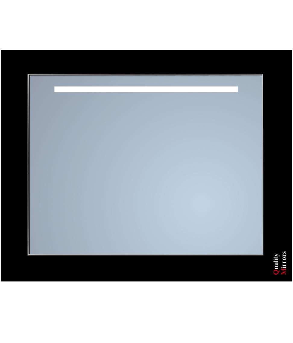 Sanicare Spiegel met Cool White Leds 90 cm. Sensor schakelaar 1 x horizontale strook omlijsting zwart