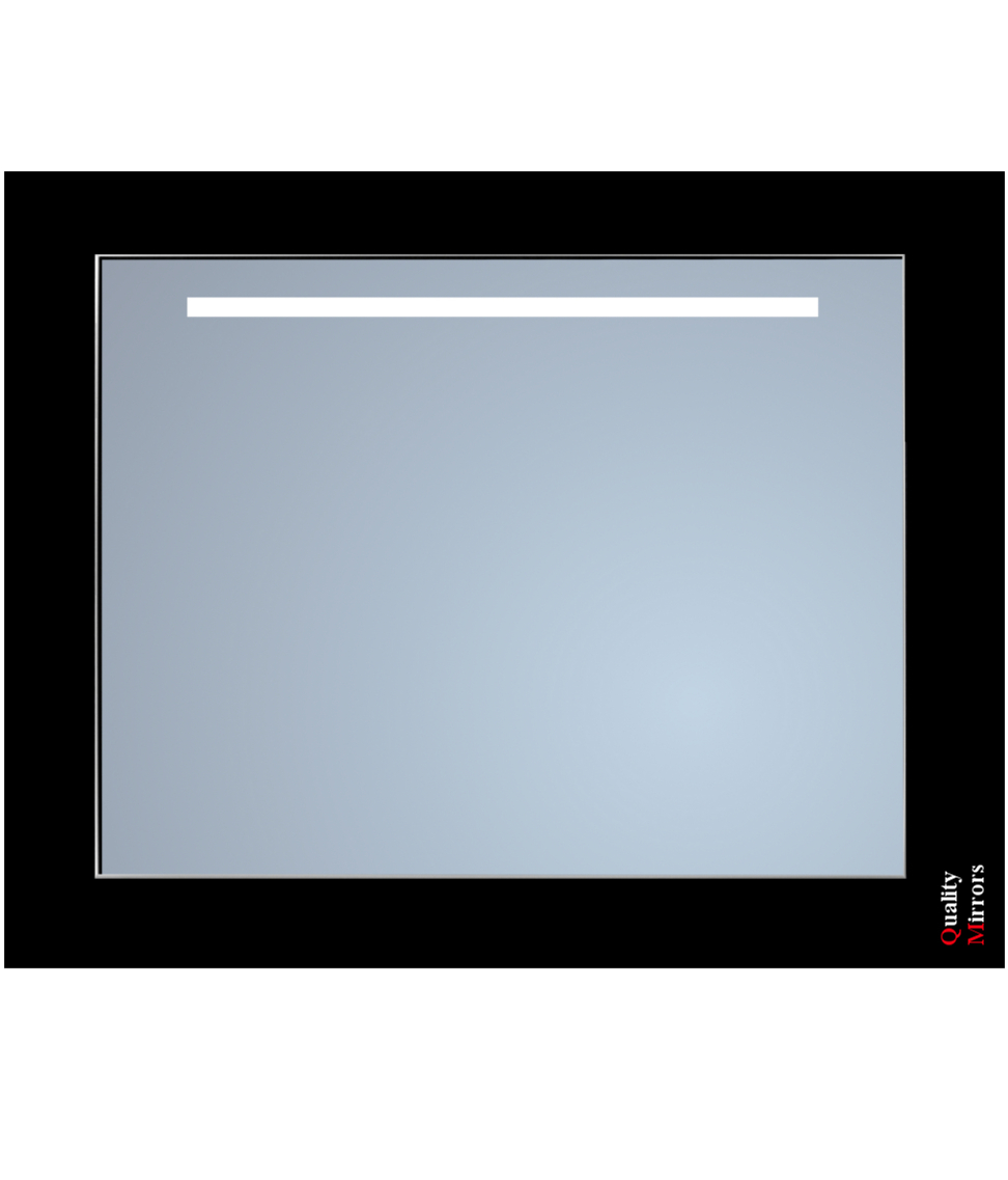 Sanicare Spiegel met Cool White Leds 100 cm. Sensor schakelaar 1 x horizontale strook omlijsting zwart