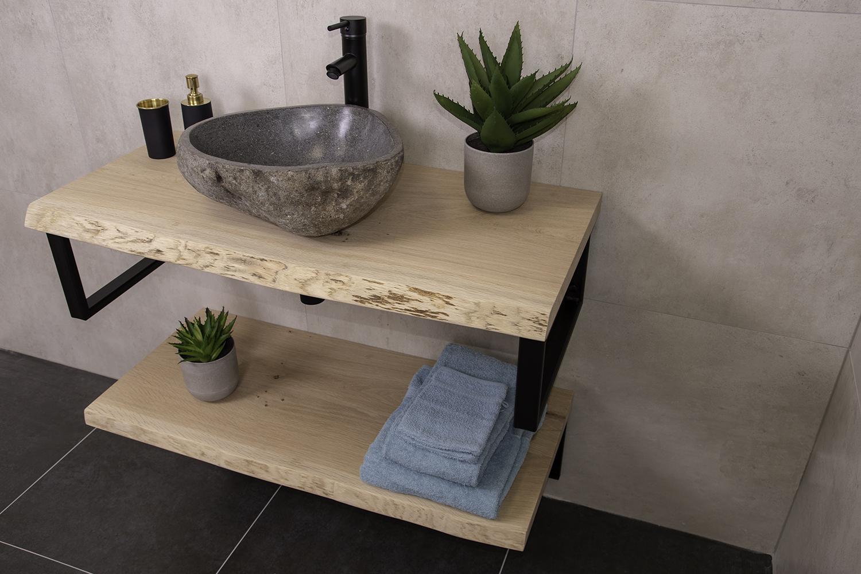 Productafbeelding van Massief eikenhouten badmeubel 70cm met rivierstenen waskom