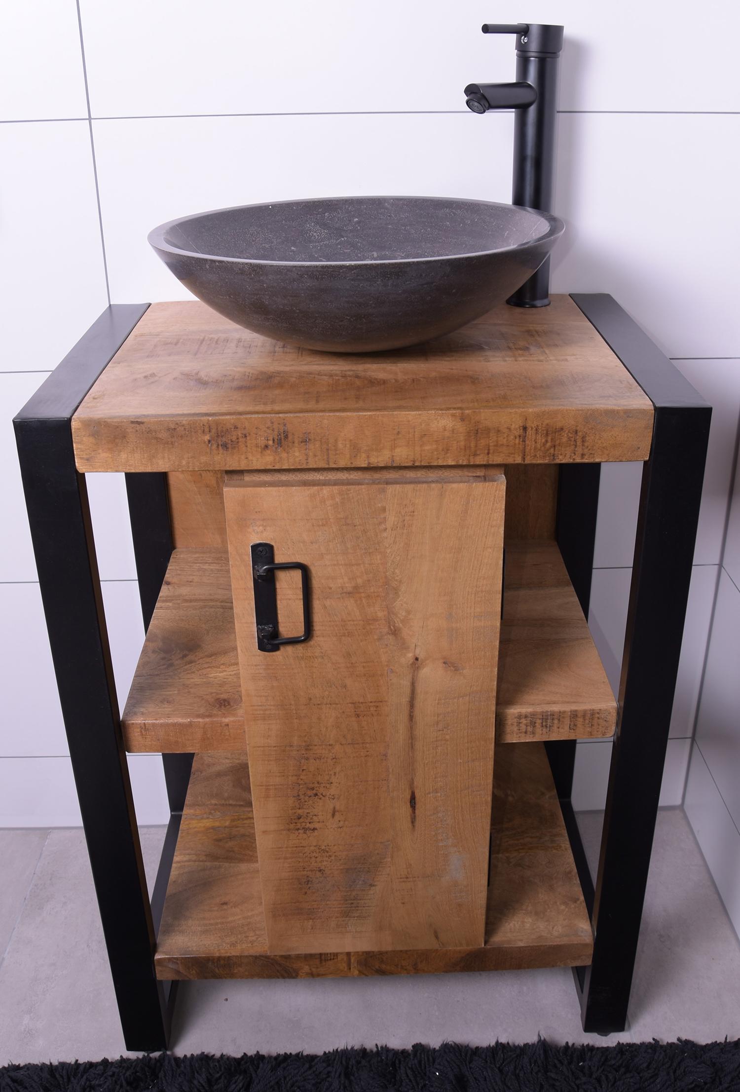 MD Interior Mocu mangohout wastafelmeubel 60cm met natuursteen kom