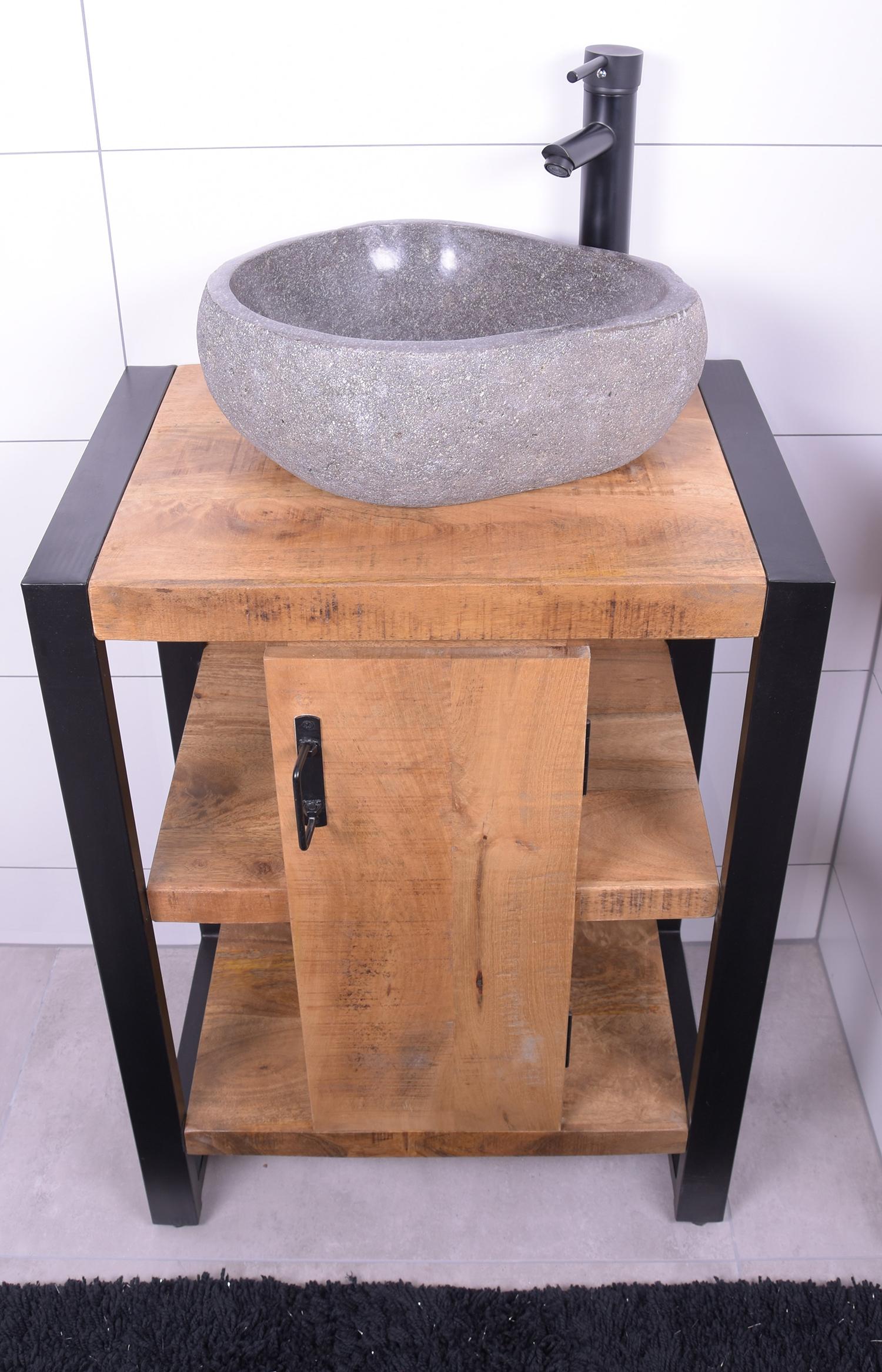 MD Interior Mocu mangohout wastafelmeubel 60cm met riviersteen kom