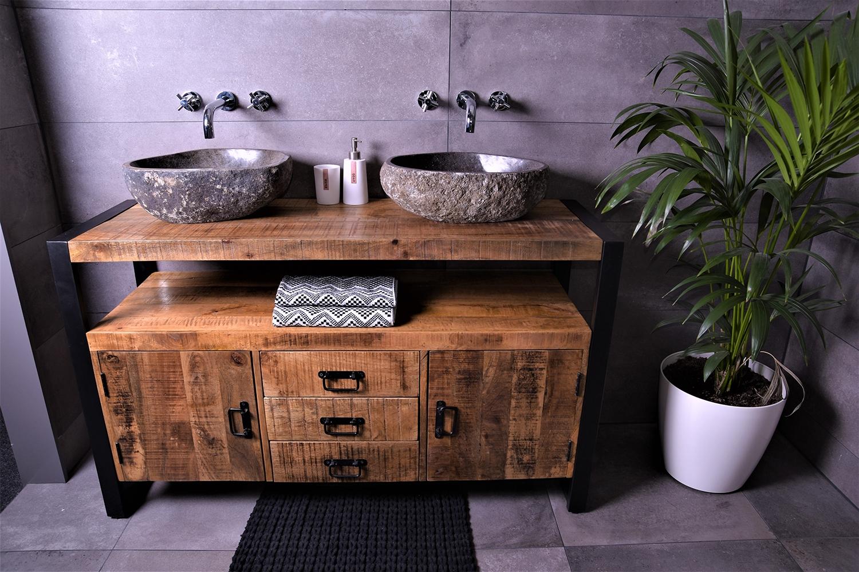 MD Interior Woodz badkamermeubel 135cm 0 kraangaten met 2 riviersteen waskommen