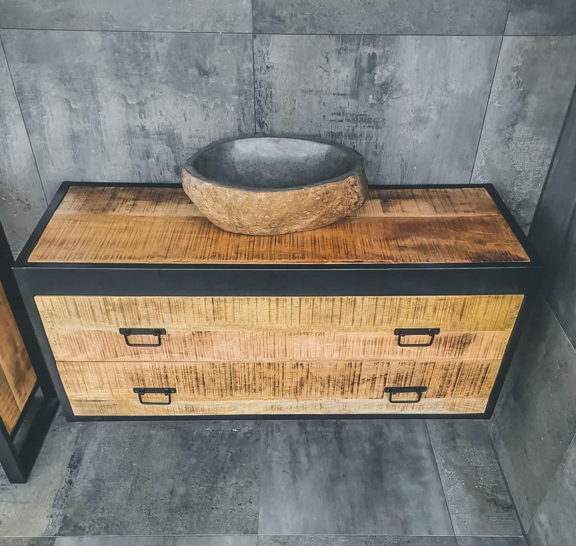 MD Interior Woodz badkamermeubel 120cm geen kraangat met rivierstenen kom