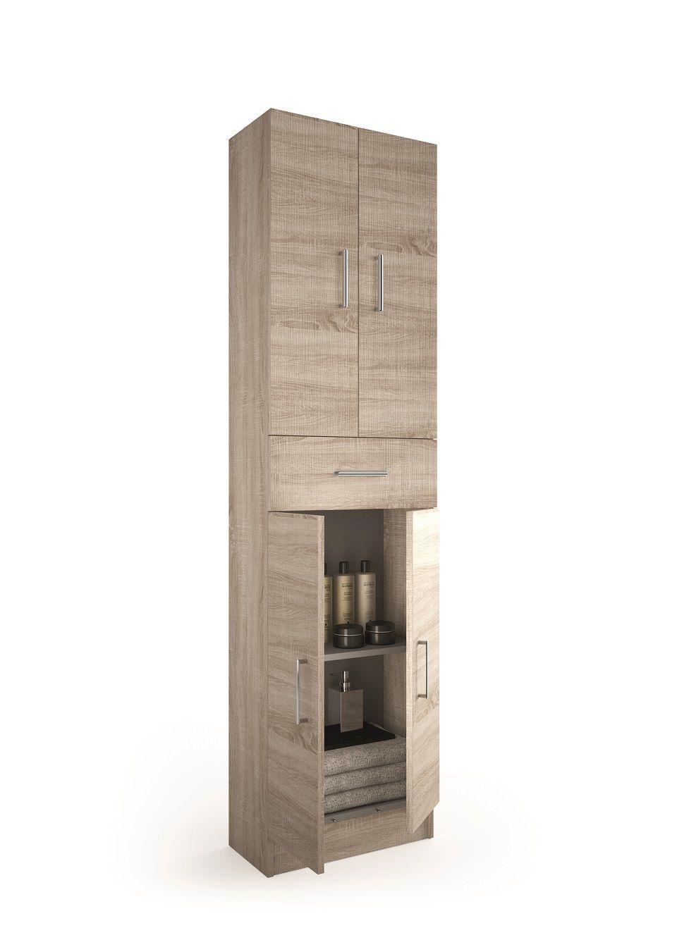 Muebles Auxi hoge opbergkast caledonia 180x48x24cm 4 deuren 1 lade