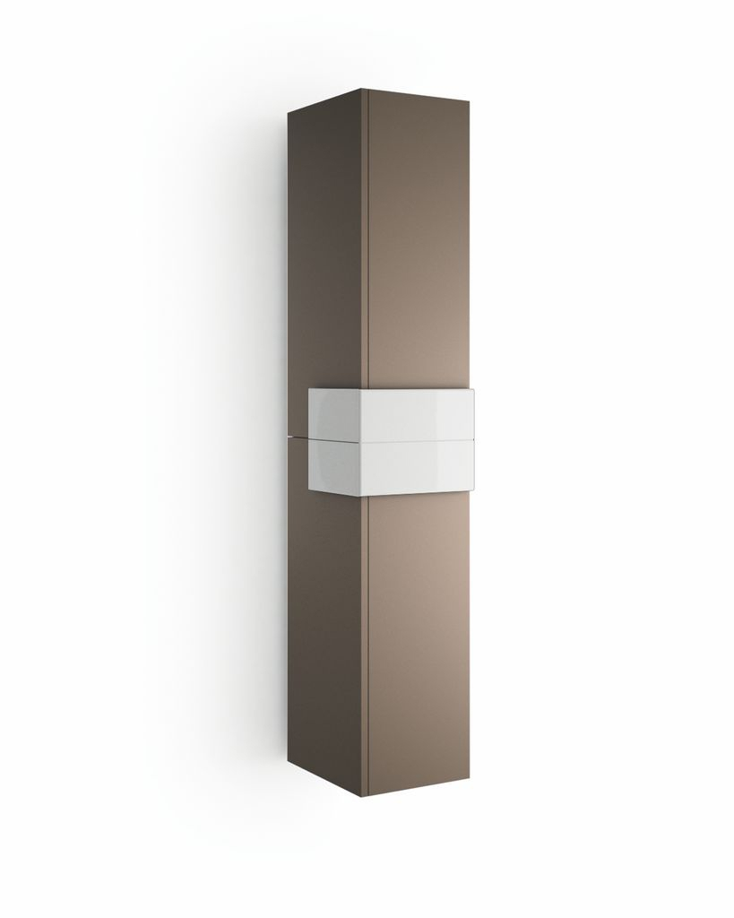 Muebles Cronos hoge kast 160cm mokka - wit unieke afwerking