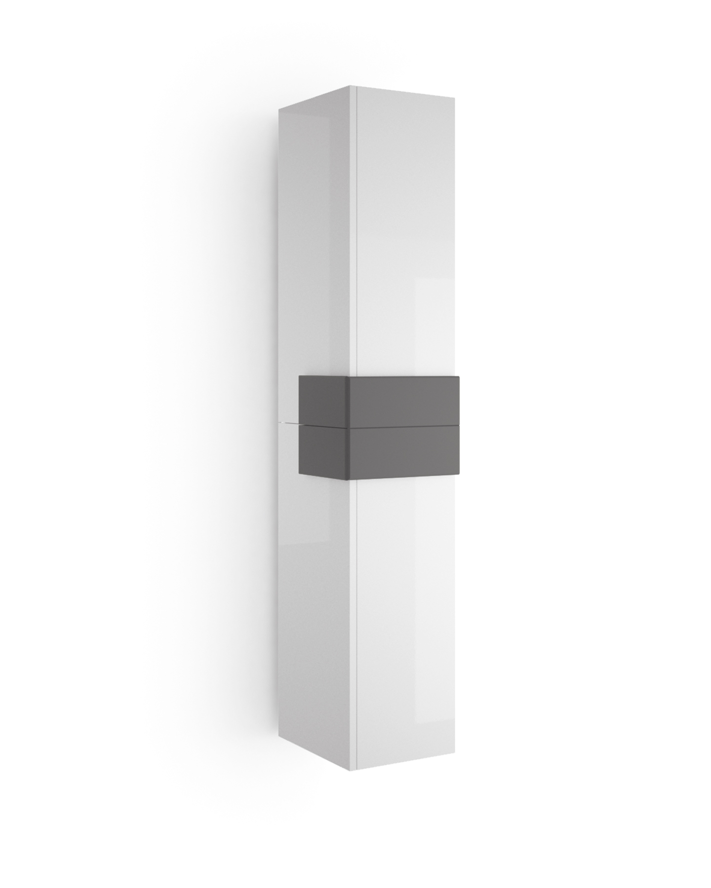 Muebles Cronos hoge kast 160cm wit - antraciet unieke afwerking