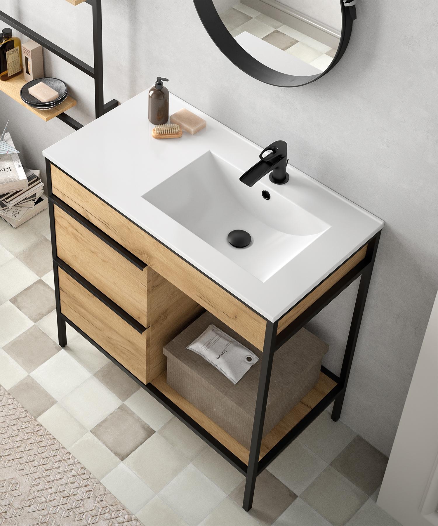 Muebles Davinci 100cm badkamermeubel met geintegreerde wastafel rechts
