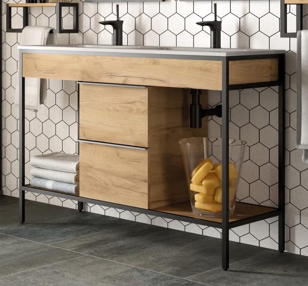 Muebles Davinci 120cm badkamermeubel met dubbele geintegreerde wastafel