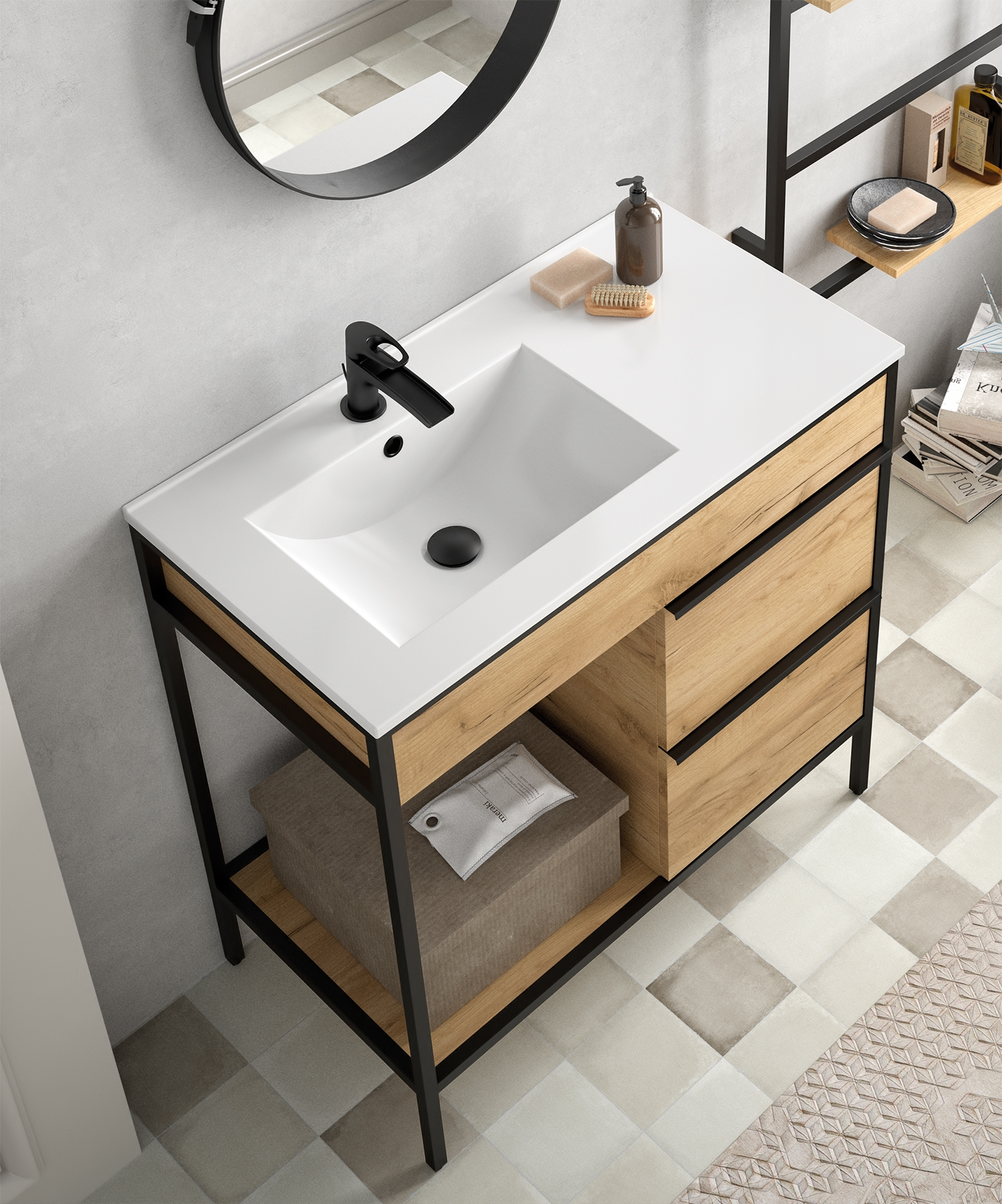 Muebles Davinci 120cm badkamermeubel met geïntegreerde wastafel links