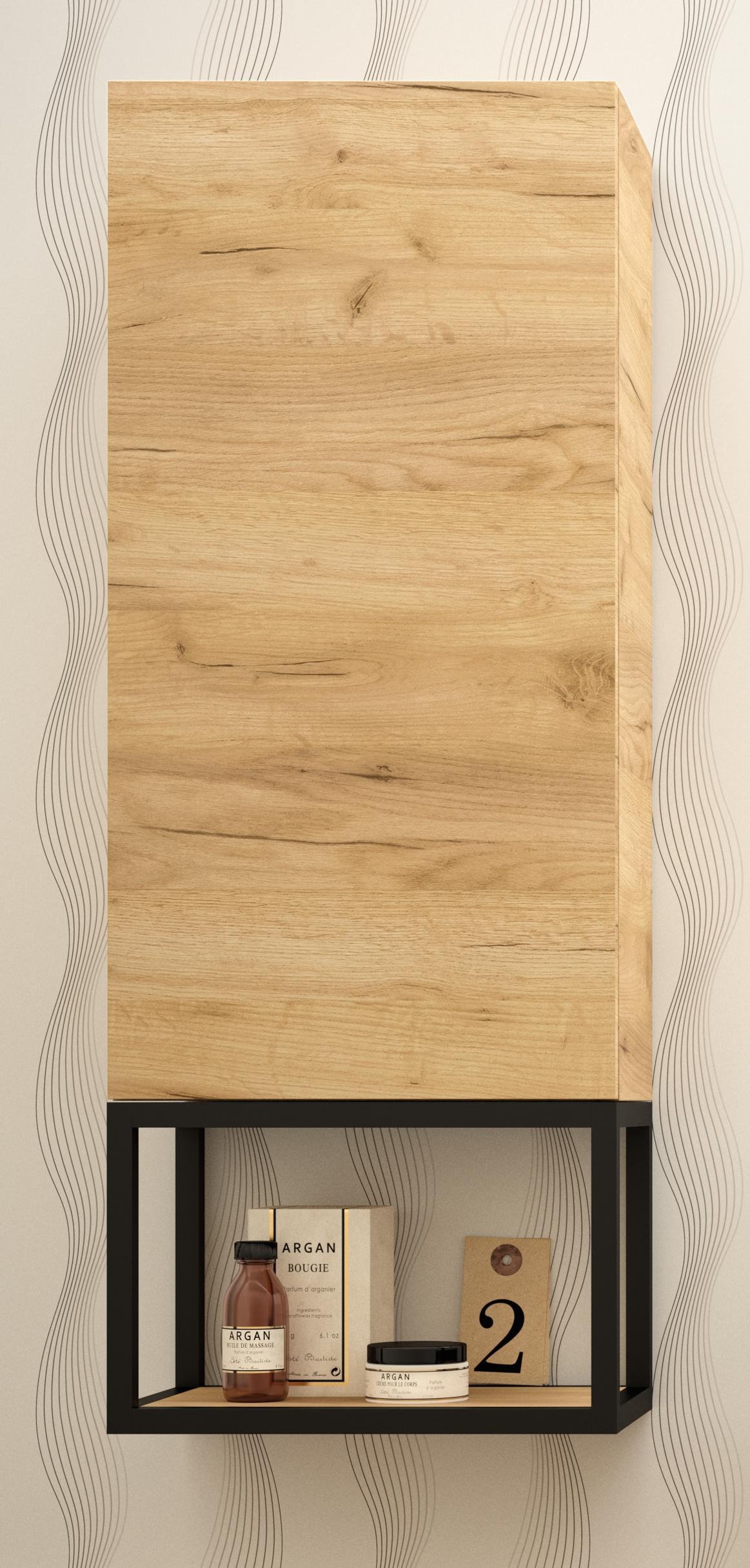 Muebles Davinci badkamerkast 100cm met zwart frame en eiken afwerking
