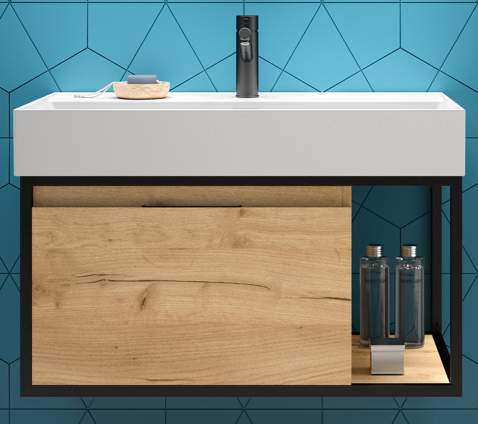 Muebles Davinci badkamermeubel 80cm met 80cm wastafel mat zwart & eiken