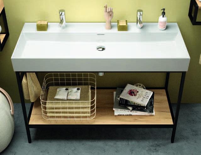 Muebles Davinci staand badkamermeubel 120cm inclusief wastafel 2 kraangaten, mat zwart frame