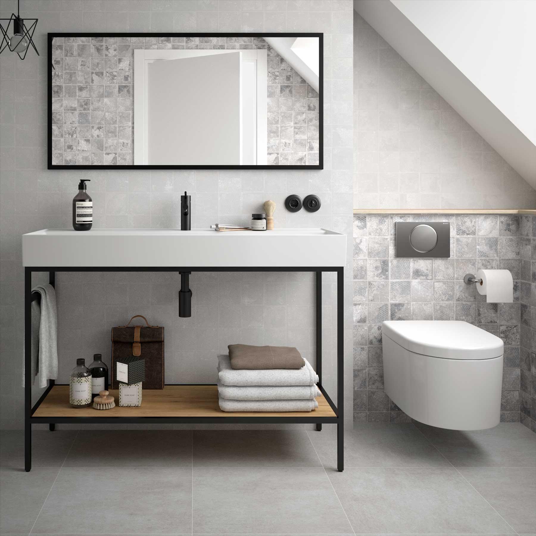 Muebles Davinci staand badkamermeubel 120cm inclusief wastafel, mat zwart frame