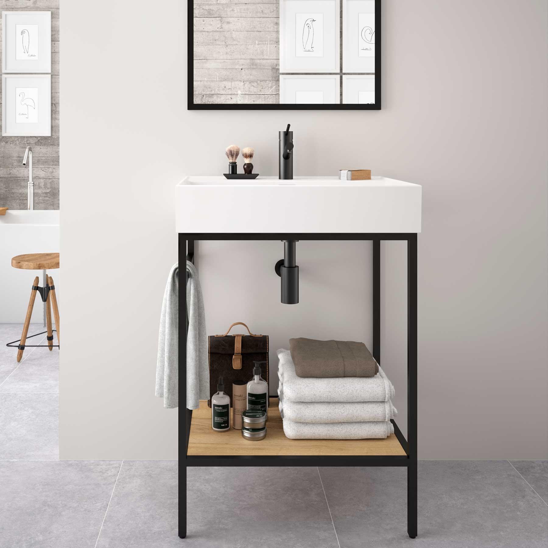 Muebles Davinci staand badkamermeubel 60cm inclusief wastafel, mat zwart frame