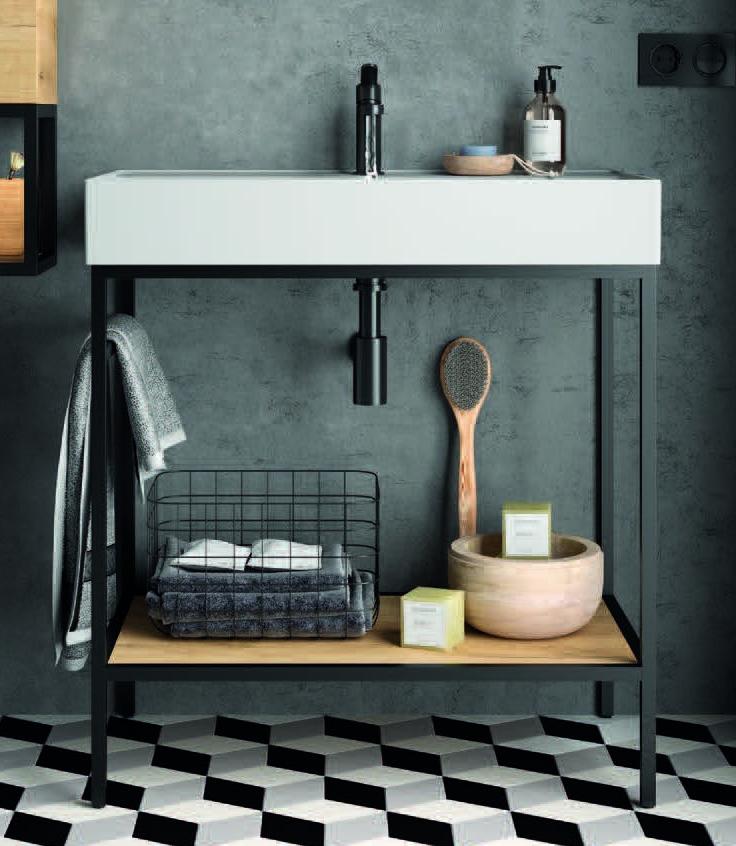 Muebles Davinci staand badkamermeubel 100cm inclusief wastafel, mat zwart frame