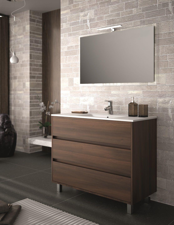 Muebles Rise staand badkamermeubel 100cm brown acacia