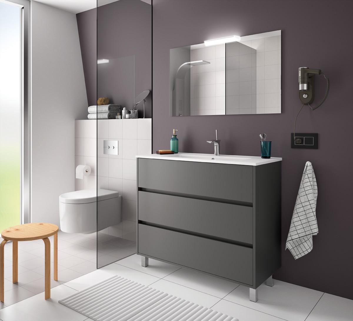 Muebles Rise staand badkamermeubel 100cm mat grijs