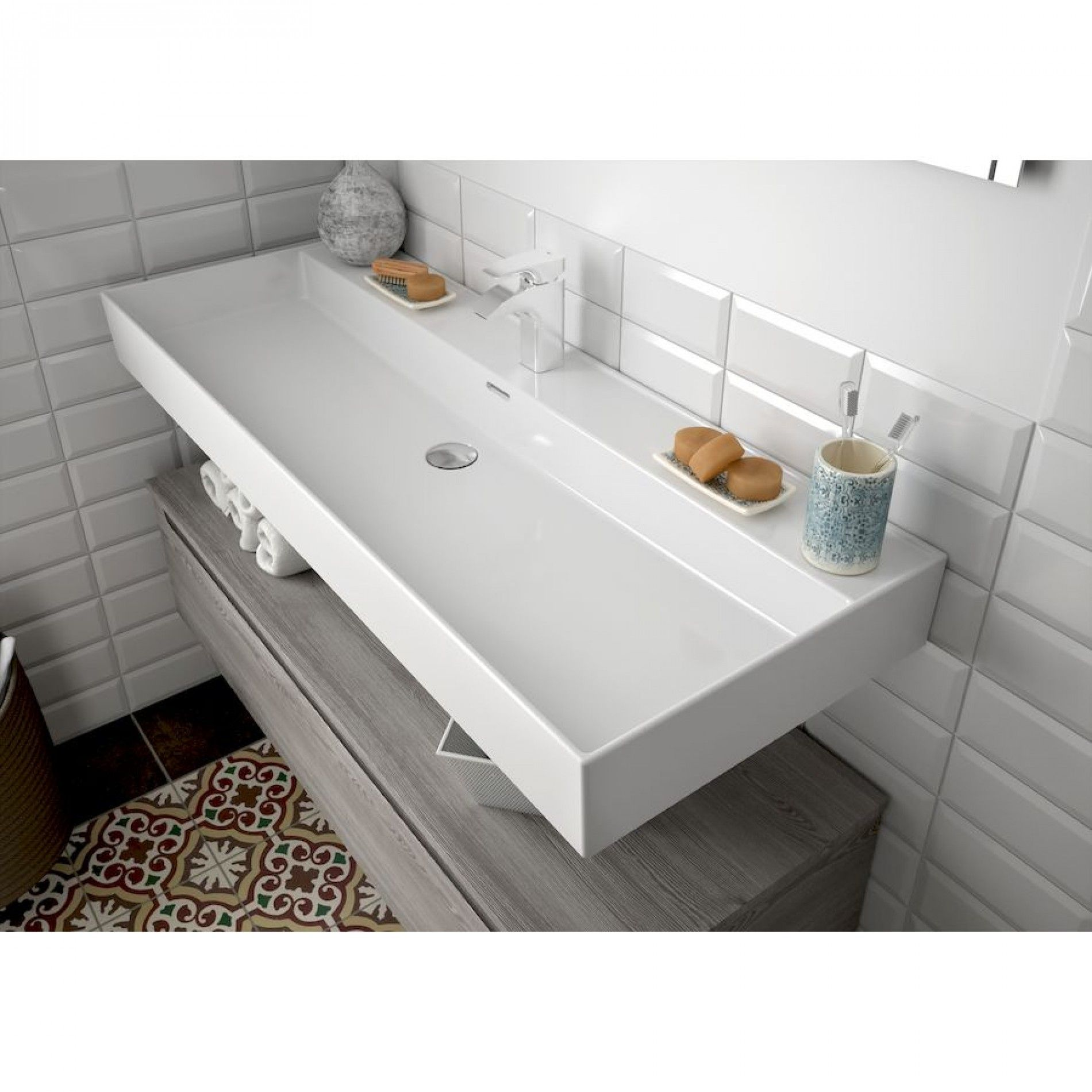 Muebles Veneto keramische wastafel 120x46cm met 1 kraangat wit