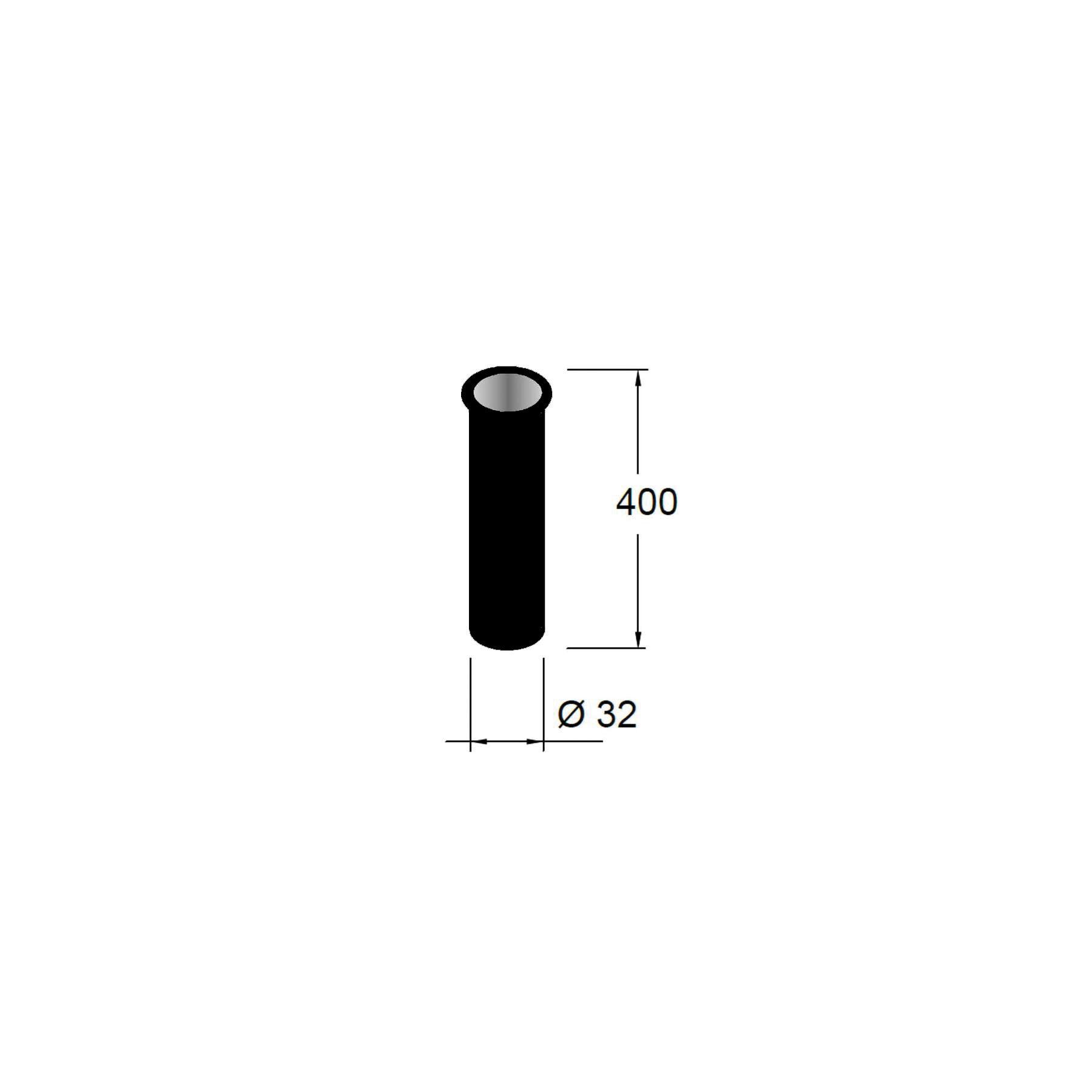 Muebles Vinci mat zwarte sifon verlengbuis 40cm met kraag