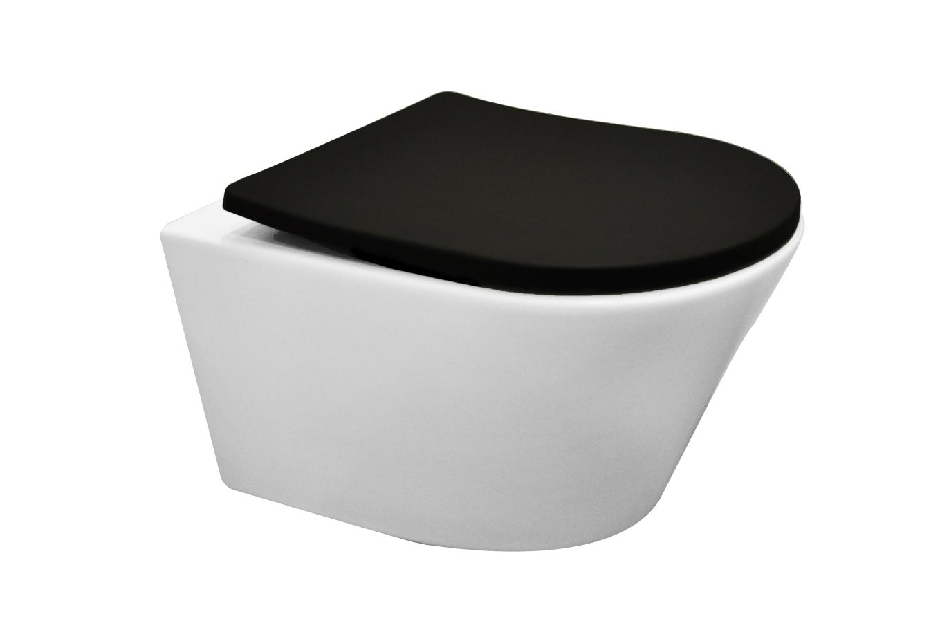 Mueller Afesta mat wit randloos toilet inclusief zwarte softclose zitting
