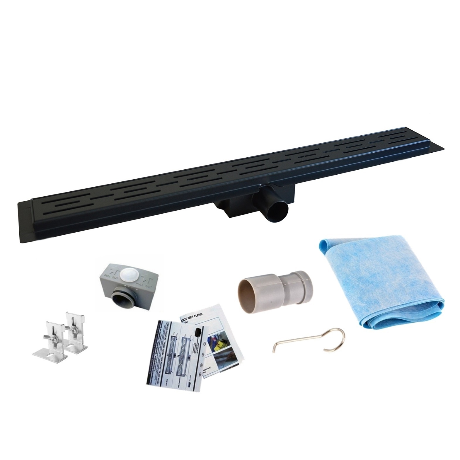 Mueller Black RVS douchegoot 160cm met uitneembaar sifon mat zwart