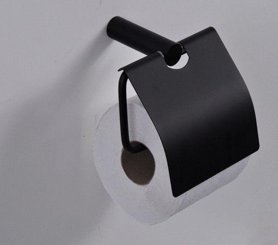 Mueller Black toiletrolhouder met klep mat zwart