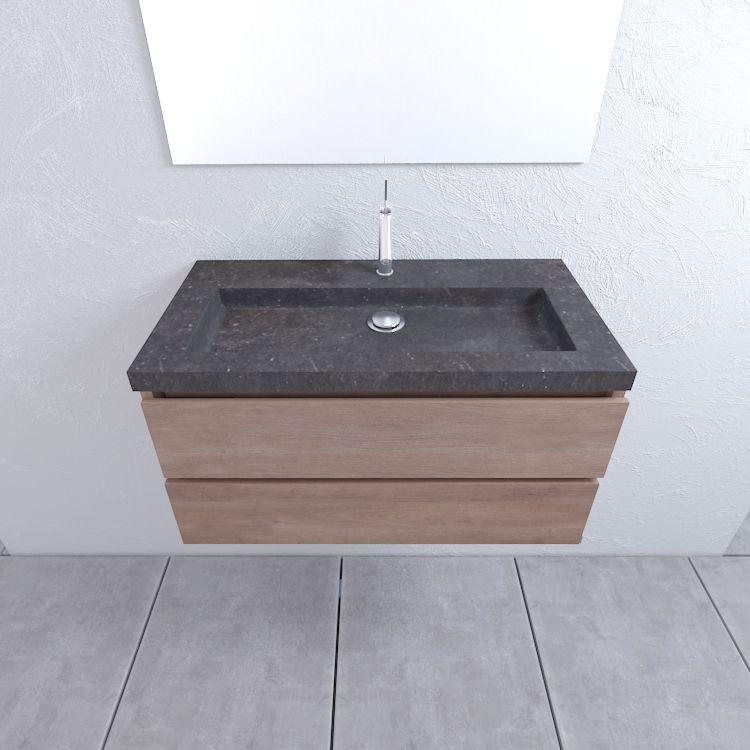 Mueller Cali eiken houten badkamermeubel 100cm met 1 kraangat