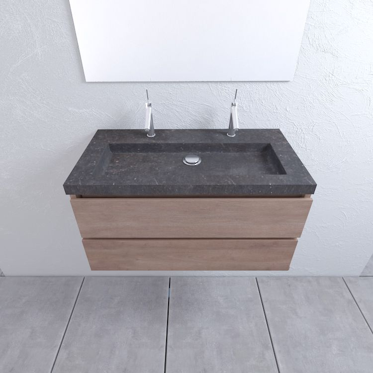 Mueller Cali eiken houten badkamermeubel 100cm met 2 kraangaten