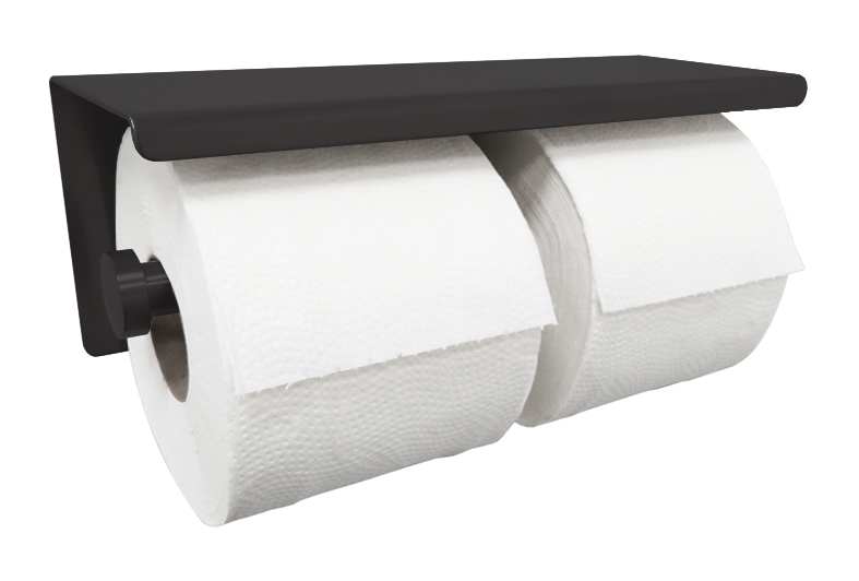 Mueller dubbele toiletrolhouder met planchet 304-RVS mat zwart
