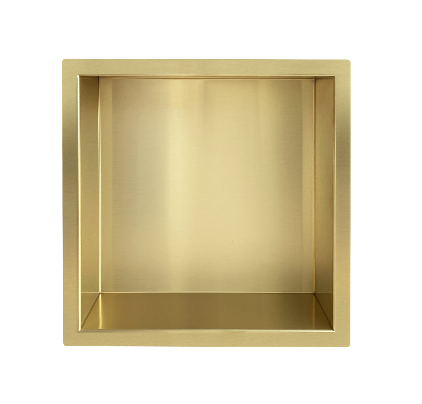 Mueller Gold inbouwnis 30x30x10cm geborsteld messing