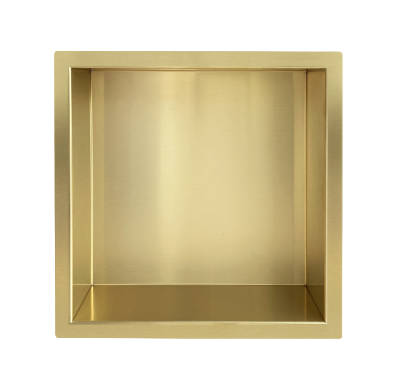 Mueller Gold inbouwnis 30x30x7cm geborsteld messing