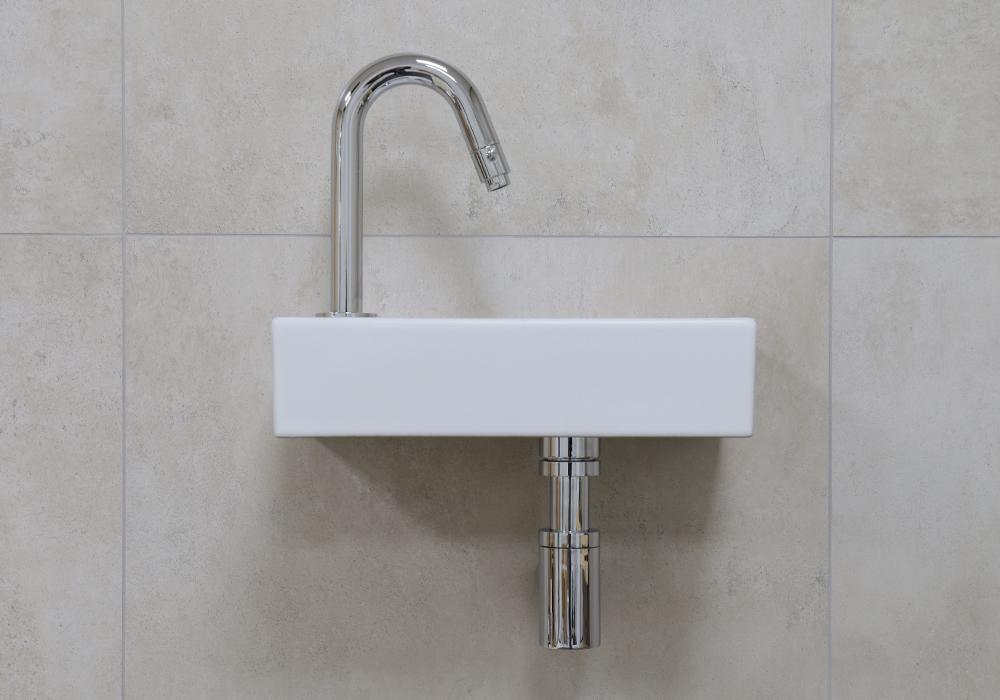 Mueller Mini Rhea 36x18x9 fonteinset mat wit met chroom gebogen fonteinkraan links