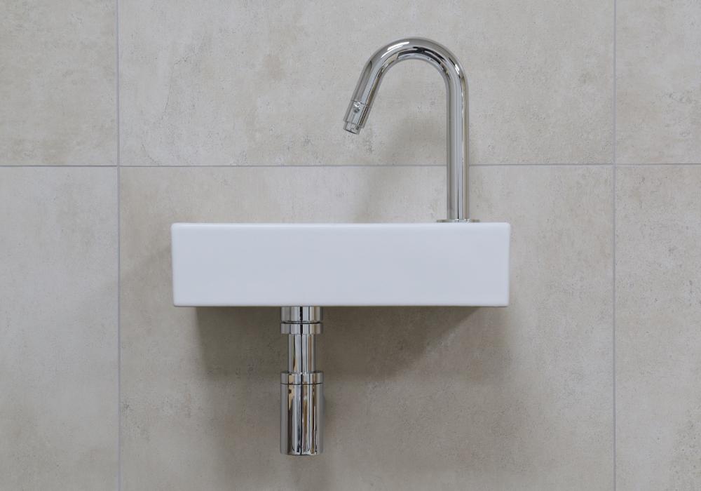 Mueller Mini Rhea 36x18x9 fonteinset mat wit met chroom gebogen fonteinkraan rechts