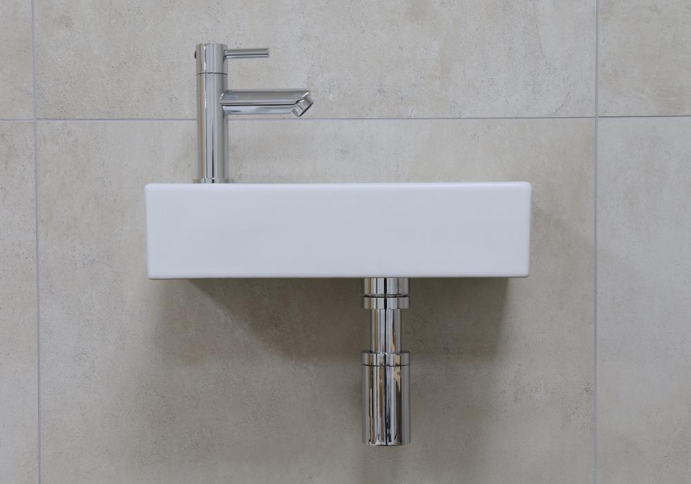 Mueller Mini Rhea 36x18x9 fonteinset mat wit met chroom kraan links