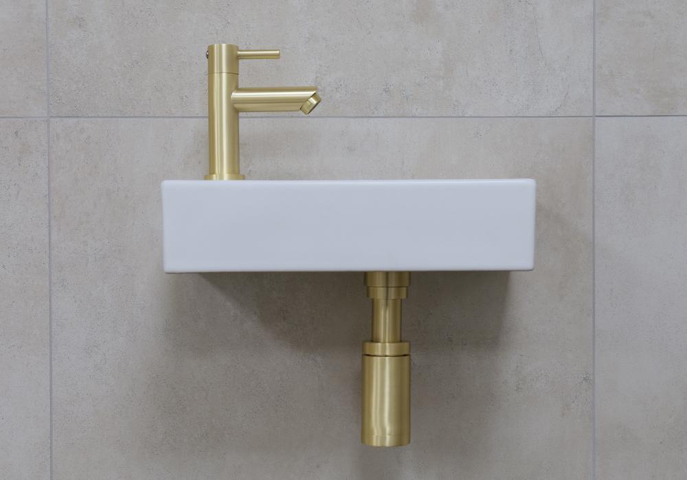 Mueller Mini Rhea 36x18x9 fonteinset mat wit met gouden kraan links