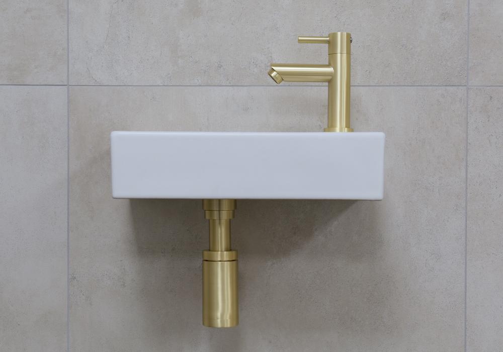 Mueller Mini Rhea 36x18x9 fonteinset mat wit met gouden kraan rechts