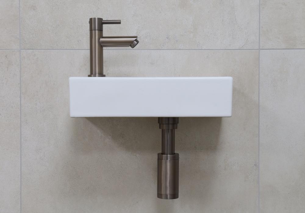 Mueller Mini Rhea 36x18x9 fonteinset mat wit met oud ijzerkleurige kraan links