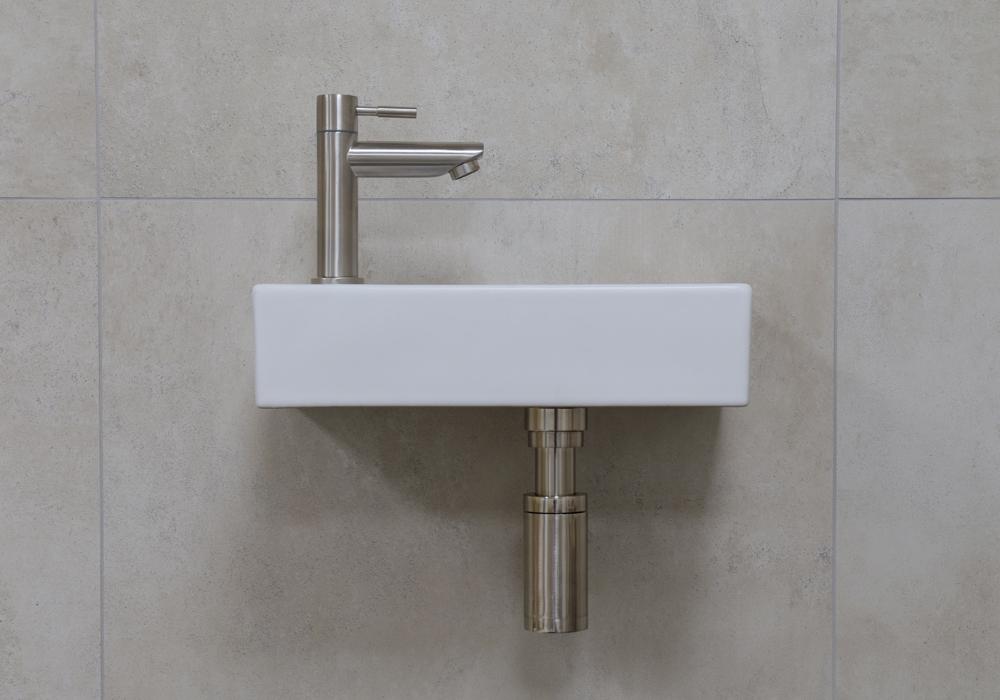 Mueller Mini Rhea 36x18x9 fonteinset mat wit met RVS kraan links