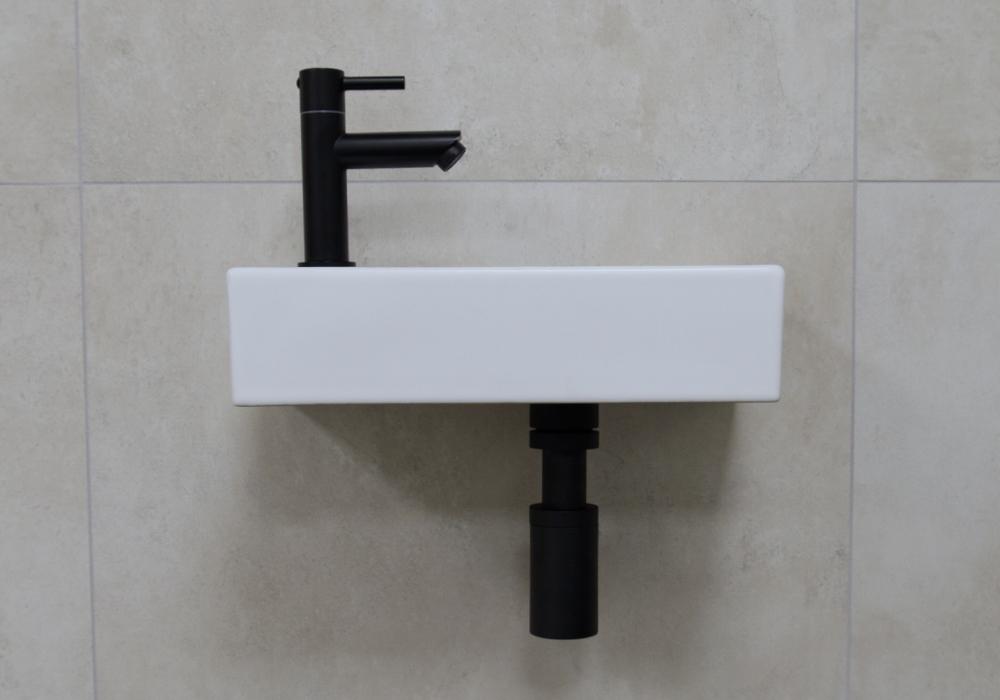 Mueller Mini Rhea 36x18x9 fonteinset mat wit met zwarte kraan links