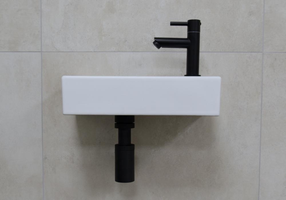 Mueller Mini Rhea 36x18x9 fonteinset mat wit met zwarte kraan rechts