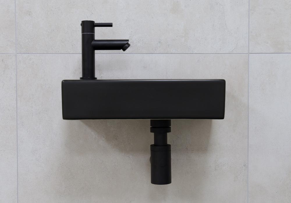 Mueller Mini Rhea 36x18x9 zwarte fonteinset met kraan links