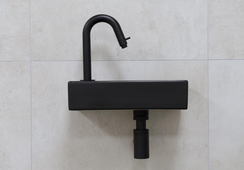 Mueller Mini Rhea zwarte fonteinset met gebogen fonteinkraan links in de kleur zwart