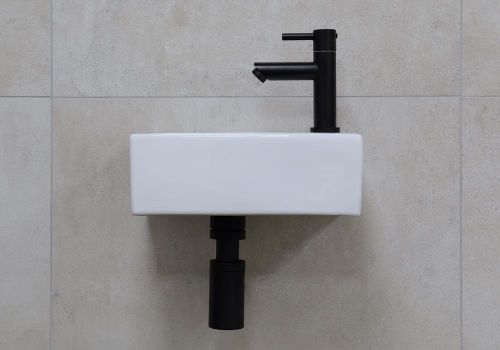 Mueller Rhea xxs 30.5x18x11 fonteinset met zwarte kraan rechts