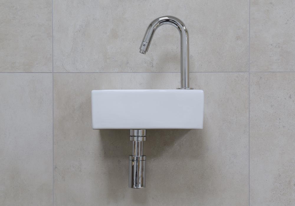 Mueller Rhea XXS fonteinset glans wit met chroom gebogen fonteinkraan rechts