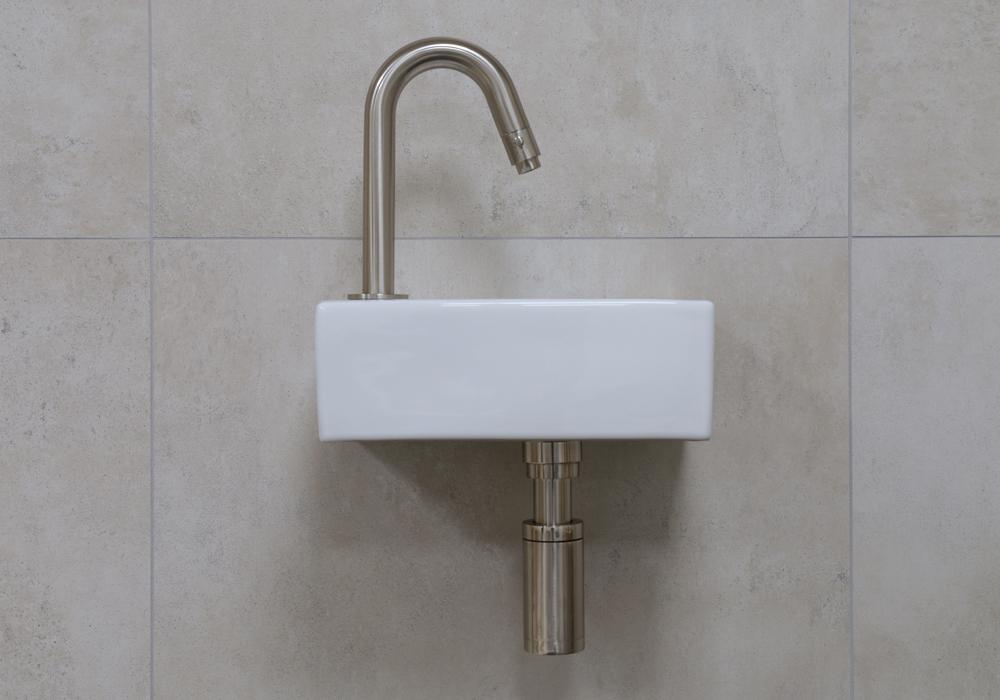 Mueller Rhea XXS fonteinset glans wit met RVS gebogen fonteinkraan links