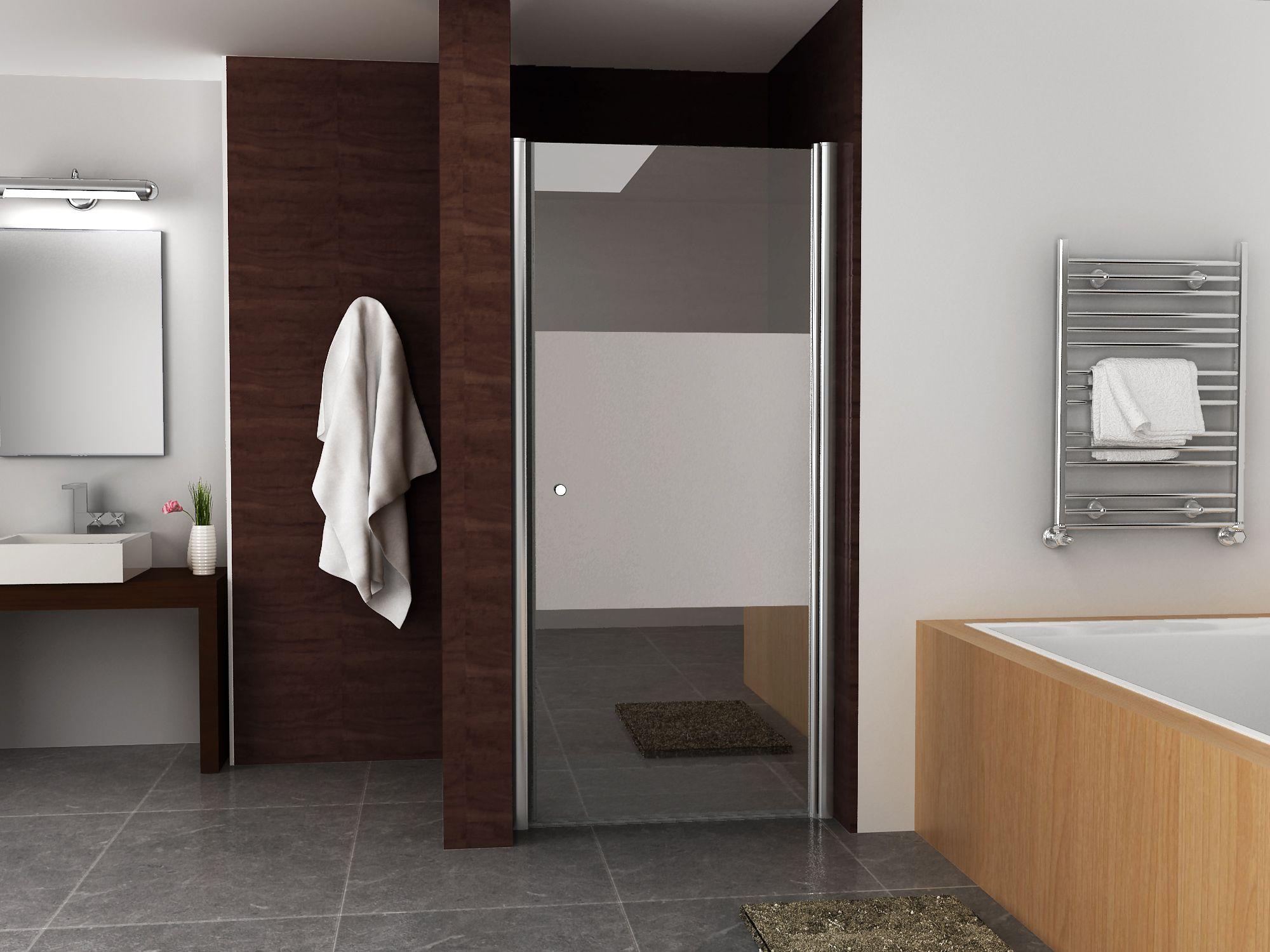 Mueller Satijn douchedeur rechts met mat glas 90x200cm ANTI-KALK