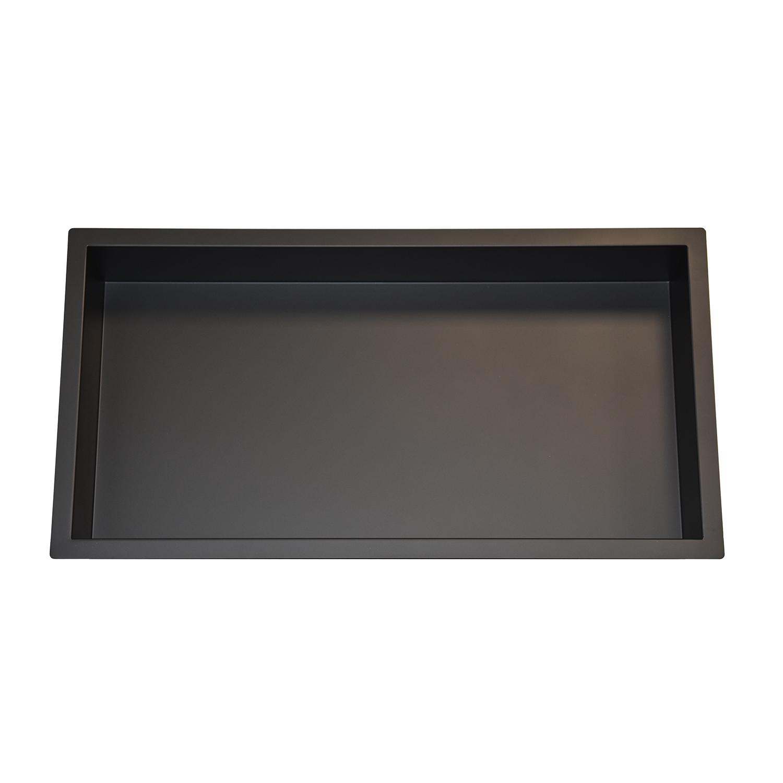 Mueller inbouwnis mat zwart 30x60x7cm RVS